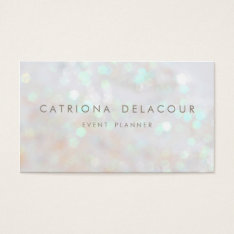 White Subtle Glitter Bokeh Business Card at Zazzle