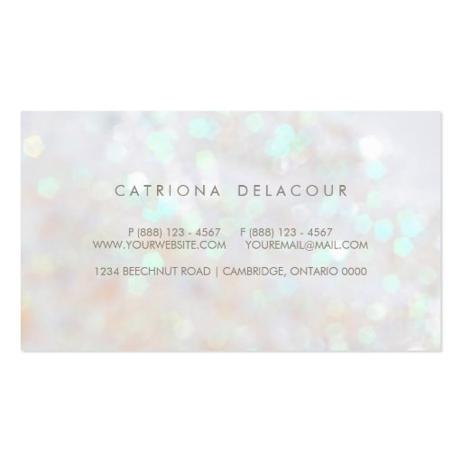 White Subtle Glitter Bokeh Business Card (back side)