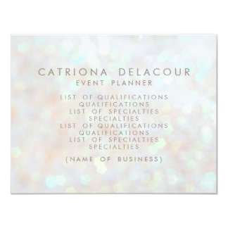 "White Subtle Glitter Bokeh Business Flyer Card 4.25"" X 5.5"" Invitation Card"