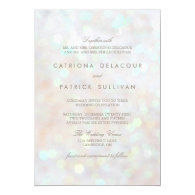 White Subtle Glitter Bokeh Wedding Invitation