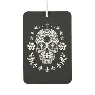 White Sugar Skull and Cross with Fleur De Lis Air Freshener