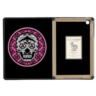 White Sugar skull style on black and Hot Pink  dam iPad Mini Cover