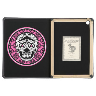 White Sugar skull style on black and Hot Pink  dam iPad Air Cover