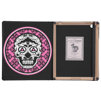 White Sugar skull style on black and Hot Pink  dam Cover For iPad