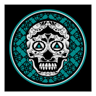 White Sugar skull style on black and Teal damask p Poster