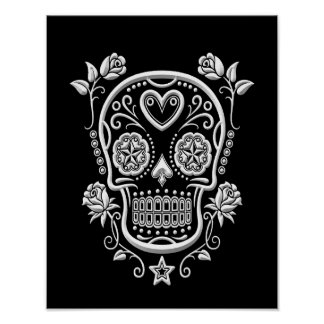 White Sugar Skull with Roses on Black Poster