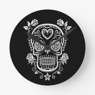 White Sugar Skull with Roses on Black Round Clock