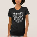 White Sugar Skull with Roses T-shirt