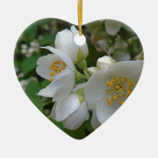 white summer flowers give reminiscent of the p ceramic ornament
