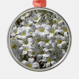 White summer flowers metal ornament
