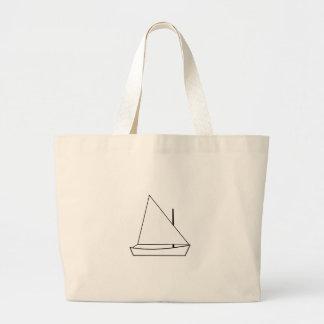 White Sunfish Sailboat Illustration Large Tote Bag