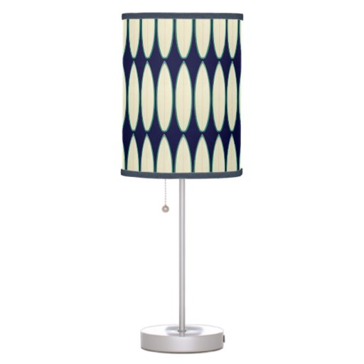 Zazzle white surfboard pattern Table Lamp