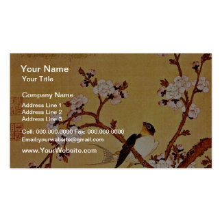 white Swallows and Flowering Branches, Chiang T'in Double-Sided Standard Business Cards (Pack Of 100)