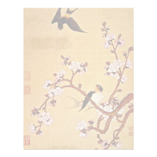 white Swallows and Flowering Branches, Chiang T'in Letterhead