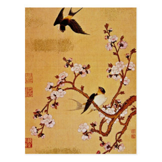 white Swallows and Flowering Branches, Chiang T'in Postcard