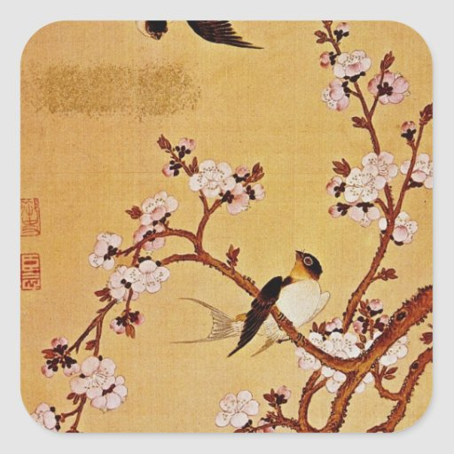 white Swallows and Flowering Branches, Chiang T'in Square Stickers