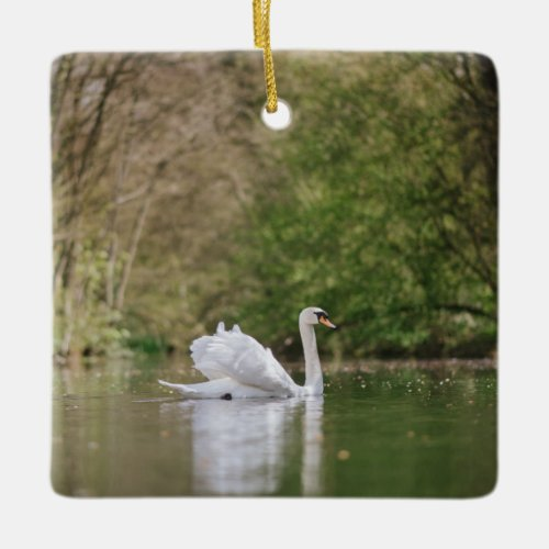White Swan Ceramic Ornament