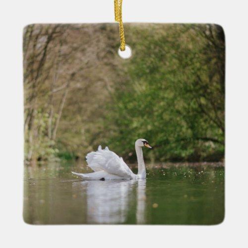 White Swan Ceramic Ornament