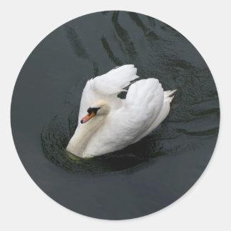 White Swan Classic Round Sticker