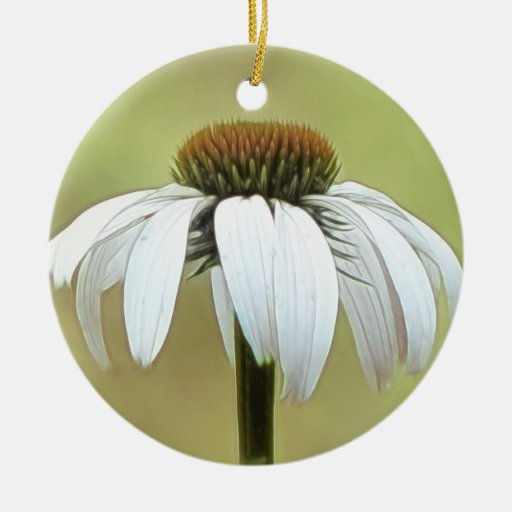 White Swan Echinacea Double-Sided Ceramic Round Christmas Ornament
