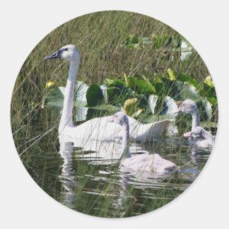 White Swan Family Classic Round Sticker