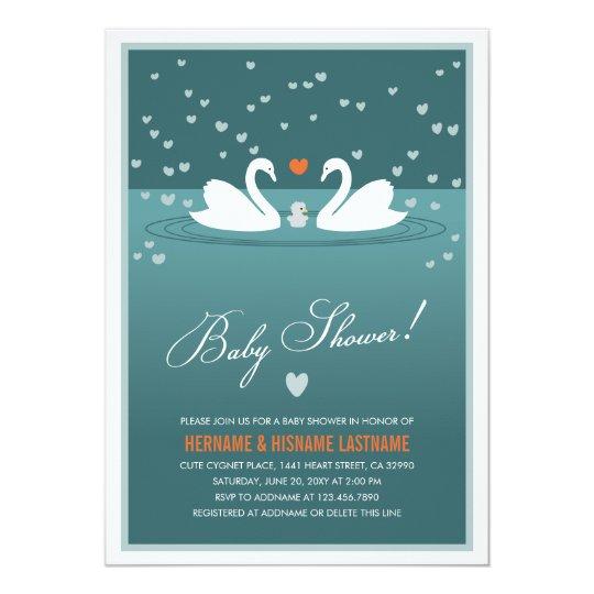 Family Baby Shower Invitations: White Swan Family Couples Baby Shower Invite