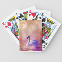 White Swan floating on a misty lake Bicycle Playing Cards