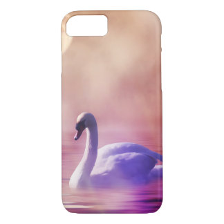 White Swan floating on a misty lake iPhone 7 Case