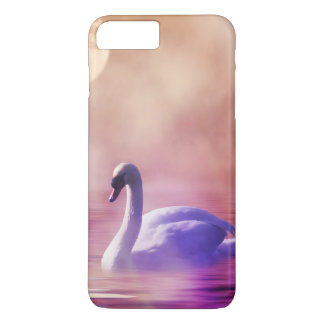 White Swan floating on a misty lake iPhone 7 Plus Case