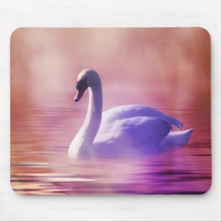 White Swan floating on a misty lake Mouse Pad