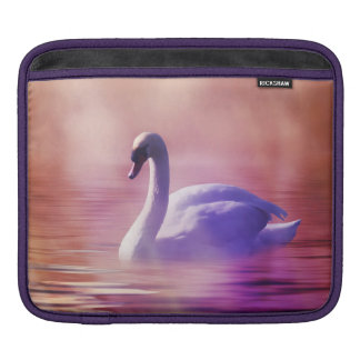 White Swan floating on a misty lake Sleeve For iPads