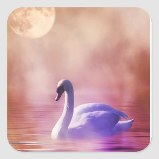White Swan floating on a misty lake Square Sticker