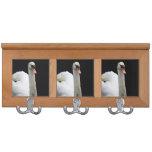 white swan head up bird image coat racks