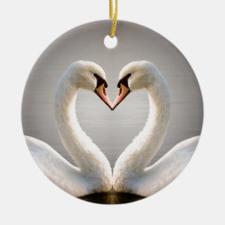 White Swan Heart Ceramic Ornament
