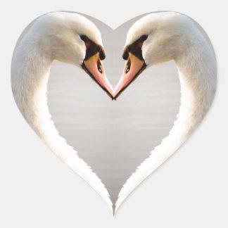 White Swan Heart Heart Sticker