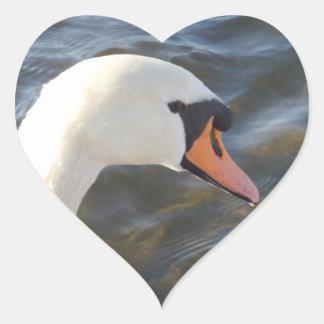 White Swan Heart Sticker