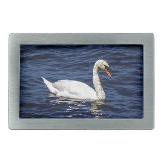 White Swan in Blue Water Rectangular Belt Buckles