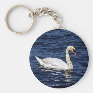 White Swan in Blue Water Keychain