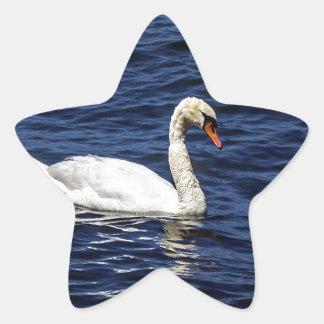 White Swan in Blue Water Star Sticker
