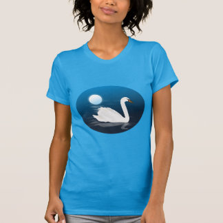 White swan in moonlight illustration t shirt