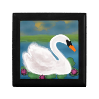 White Swan in Pond at Sunset Gift Box