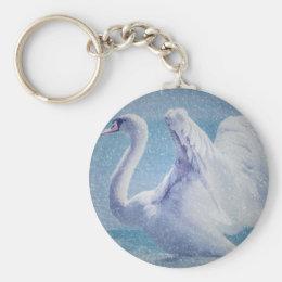 White swan in snow keychain