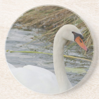 White Swan on a drink coaster