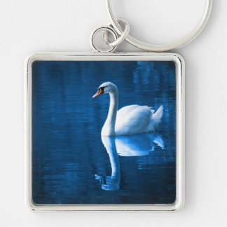White Swan on Blue Waters Key Chain