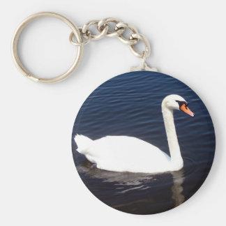 White swan on still waters basic round button keychain