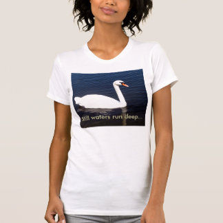 White swan on still waters tshirts