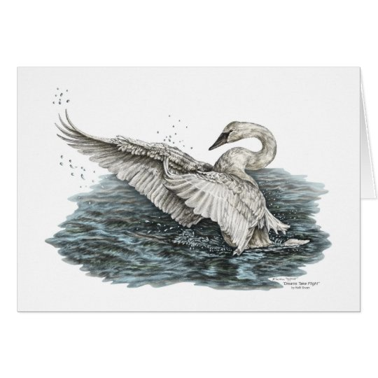 White Swan on Water Card