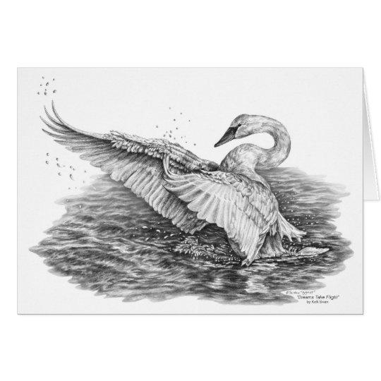 White Swan on Water Drawing by Kelli Swan Card