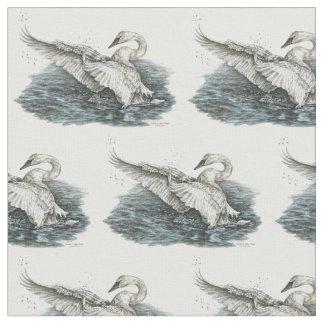 White Swan on Water Drawing by Kelli Swan Fabric