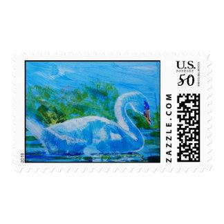 White Swan painting Postage